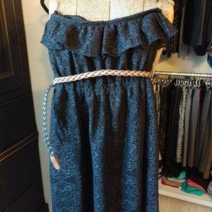 No Boundaries Strapless Lace Dress Flounce Belt